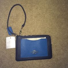 Coach Blue Color Block Clutch/ Wristlet New with tags and care instructions! 2 inner credit card slots, one outer pocket. Leather Coach Bags Clutches & Wristlets