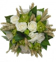 Need to see if red roses would work too, but I would be cool with this too! Already found the hops supplier! ❤️ Bouquet of Ivory Roses & Green Hops with Wheat
