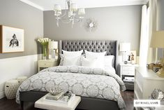 Create a curated bedroom using pattern, texture and mismatched furniture pieces for a collected look that reflects your individual style and personality. Bedroom Retreat, Cozy Bedroom, Dream Bedroom, Bedroom Decor, Stylish Bedroom, Grey Carpet Bedroom, Mismatched Furniture, Taupe Walls, Minimalist Room