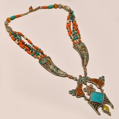 925 STERLING SILVER TIBETAN TURQUOISE & RED,YELLOW CORAL ANTIQUE NECKLACE #Handmade #Choker