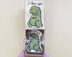 "Funny Love Card/ Love's Day Card/Love gift for her/ Love Matchbox Card/ Dinosaur card/ ""I Love You This - Kreative Geschenke - Valentines day Funny Valentine, Valentines Gifts For Her, Valentines Flowers, Valentines Diy, Unique Birthday Cards, Birthday Cards For Her, Diy Birthday, Birthday Gifts, Matchbox Crafts"