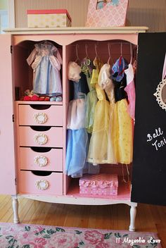 Operation Organization: Repurpose an old armoire to hold dress-up clothes and doll clothes. For Darcy's armoire! Dress Up Wardrobe, Dress Up Closet, Kids Wardrobe, Dress Up Outfits, Wardrobe Closet, Repurposed Furniture, Kids Furniture, Dress Up Stations, Dress Up Storage