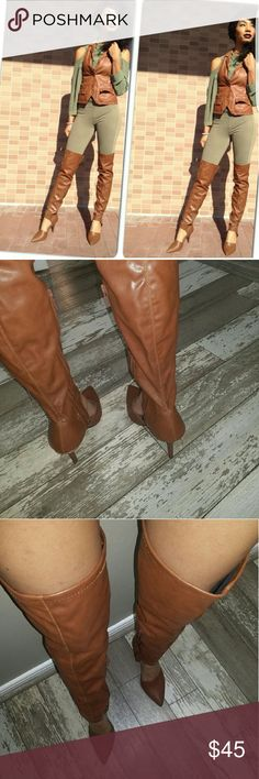 "Boots Thigh High ""Pleather"" Slightly Rounded Toe Stiletto Boots. Only Worn Once. Lola Shoetique Shoes Over the Knee Boots"