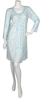 #MissElaine Sofiknit short gown. Ligthweight soft knit. Long sleeves. Neckline trimmed with beautiful detailed lace. Turq/Lavender all-over floral. Tiny tucks for fullness. Cotton/Polyester. Imported Our Price: $54.00