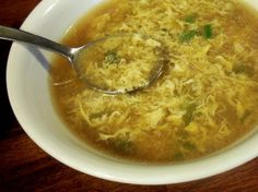 Real Easy and Real Tasty Egg Drop Soup from Food.com:   Again, adopted this recipe after living in China. It's really great as a starter or even as a quick snack! I like my egg drop soup gingery. Feel free to reduce amount of ginger if you're not a fan.     I've removed the optional msg from the recipe, as I so rarely use it anyway.