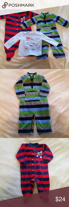 "Fleece Boy Clothes Lot: 6-9 Months Lot of three includes... (1) Fleece sleeper by Carters. It's red and blue striped. Ball themed. Footed. 9 months. (2) Fleece one piece by Carters. Blue/Green/Gray striped. Says ""big guy"" on left sleeve and has a pocket in the front. Super cute!! 9 months. (3) Fleece shirt by Baby Togs. Light blue with winter dog design. It has two buttons at the collar to make it easy to slip on over baby's head. 6-9 months. No stains or tears. Some pilling. Thanks for…"