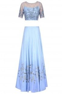Powder Blue Floral Embroidered Crop Top and Ombre Shaded Skirt Set #kanishkajaipur #shopnow #ppus #happyshopping