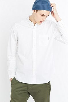 Shore Leave by Urban Outfitters Long Sleeve White Poplin Shirt
