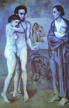 Pablo Picasso (Spanish painter, sculptor, and poet, born October 25, 1881--died April 8, 1973).La Vida 1903. Museo de Arte de Cleveland