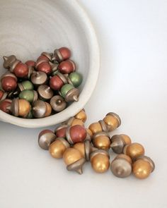 painted wooden acorns