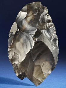 Unearthed in 2000 on Happisburgh Beach, Norfolk, by a man waking his dog, the hand axe radically altered historians's understanding of our past, revealing that Britain had been inhabited by human beings for 100,000 years longer than had been previously thought.The flint hand-axe was used by our early ancestors as a butchery tool to carve flesh off skeletons between 500,000 and 700,000 years ago.