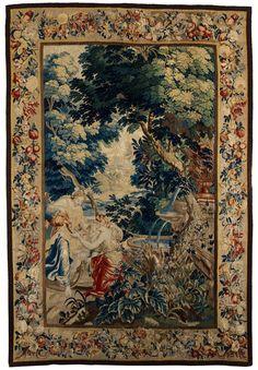 278 x 192 cm. Oudennarde, 17. Jahrhundert. Erziehung des Bacchus-Knaben. Die Feinheit und hohe Qualität des Bildteppichs lässt auf eine Werkstatt in...