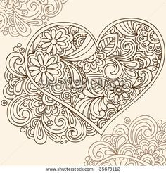 Hand-Drawn Doodle Henna Heart Vector Illustration by blue67design, via Shutterstock                                                                                                                                                                                 Mehr