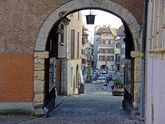 Old city of La Neuveville (Lake Biel), Switzerland.