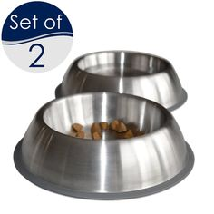 [NEW] PetFusion Premium Brushed Anti-tip Dog and Cat Bowls, Set of 2. [FOOD GRADE SS, Bonded silicone ring] -- Continue to the product at the image link.