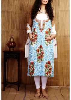 Kashmiri White Hand Embroidered Chiffon Dress Material Set