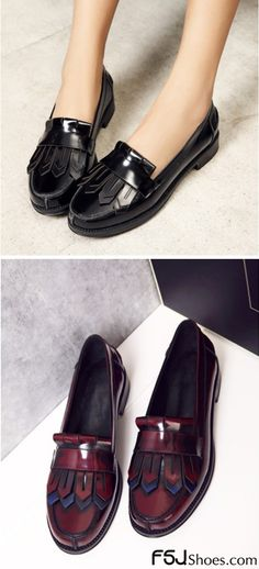 be18b68c8950 Burgundy Patent Leather Flat Round Toe Fringe Loafers for Women