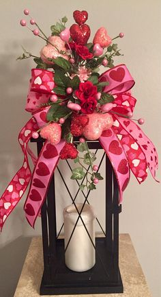 """Welcome to DecorClassicFlorals...... Welcome your Guests with Style Proudly Presenting the Latest Design from my Studio, one of many arrangements to come............ HAPPY HEARTS"""" Decorative Valentines Day Lantern Swag Tabletop Decoration This lovely decorative swag will add"""