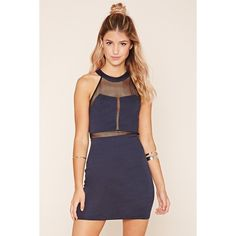 Forever 21 Women's Mesh-Paneled Mini Dress (190 MXN) ❤ liked on Polyvore featuring dresses, forever 21, mesh mini dress, mesh dress, mini dress and short dresses