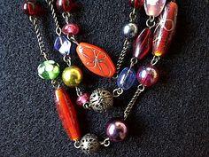 Vintage Boho Art Glass 3 strand Brass Necklace by FaesBlueMoon, $9.00