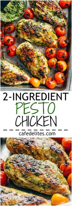 Pesto Chicken GRILLED OR OVEN BAKED, smothered in a creamy, homemade Basil Pesto! Only 2 main ingredients needed, this chicken is out of this world!   http://cafedelites.com