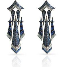 Sharart Design Blue Sapphire Diamond White Gold Earrings via Polyvore