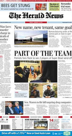 The front page of The Herald News for Friday, Jan. 23, 2015. #fallriver