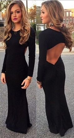 Black prom dress, open back prom dress, mermaid prom dress, long sleeve prom dress, dresses for prom, formal evening dresses,PD190463