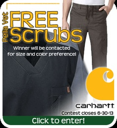 Enter to win a FREE Dickies scrub top and pants from Pella Vet Professional Veterinary Apparel and Supplies