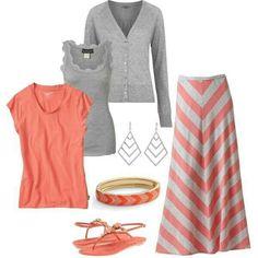 Chevron print orange & gray skirt, orange or gray shirt, gray shrug.