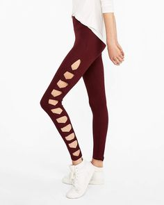 cd5023a5 Express One Eleven High Waist Supersoft Cut-Out Side Leggings Purple Women's  XS