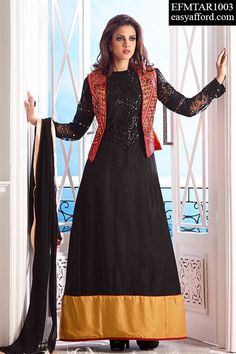 Today's Price Rs. 3599/- For Buy Call or Whatsapp 08968017642, 07837409851 or Click the below link http://easyafford.com/anarkali-suits/1366-amazing-shaded-red-black-yellow-palazzo-suit.html