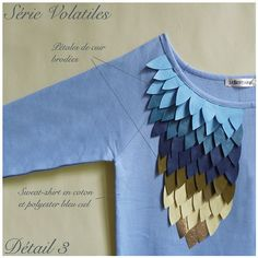 Sky blue cotton sweat shirt embroidered with by LeBestiaire, $160.00
