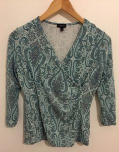 Talbots Petites Size Small 3/4 Sleeve Top Faux Wrap Ruched Super Soft Fabric #Talbots #Wrap