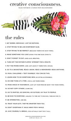 Creative Consciousness by Deluxemodern: Rules for Being a Human