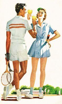 Illustration for a Ballantine Ale ad - c. Vintage Tennis, Vintage Ads, Vintage Posters, Mode Tennis, Retro Fashion, Vintage Fashion, Tennis Fashion, Pin Up Art, Illustrators