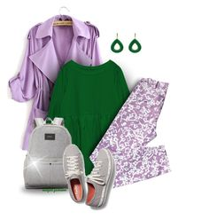 Green, Gray and Purple by outfitsfashion4 on Polyvore featuring moda, Diane Von Furstenberg, Keds, State and Latelita