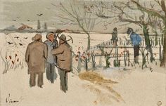 """Sketch of Miners in the Snow: Winter, enclosed in a letter from Vincent to Theo Van Gogh. """"I wish you could see the two watercolours, you would realize they are just like any other watercolours, may still be full of imperfections, I am still very dissatisfied with them, yet they are quite different from what I have done before and look fresher and brighter. However, they must get fresher and brighter still, but one can't do everything one wants just like that. It will come little by little."""""""