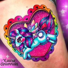 21 Unicorn Tattoo Ideas Unicorns are everywhere right now. People are rocking unicorn nails and even unicorn hair. We're rocking unicorns on o. Pretty Tattoos, Cute Tattoos, Beautiful Tattoos, Body Art Tattoos, Kawaii Tattoos, Amazing Tattoos, Tatoos, Leg Tattoos, Clever Tattoos