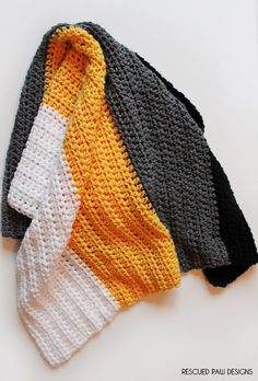 Steelers Crochet Throw Blanket .