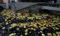 """More than one thousand pro-democracy protesters gather outside government headquarters in Hong Kong, China September 28, 2015. Monday marks the first anniversary of the Occupy Central or """"umbrella"""" movement, demanding universal suffrage in the territory. REUTERS/Bobby Yip"""