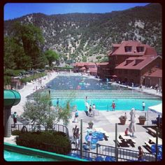 Glenwood Springs Spa, Colorado.   Beautiful town with a mineral hot springs pool open to the public.