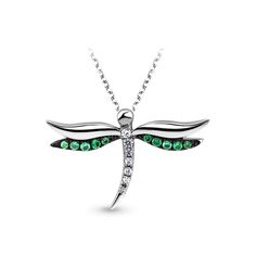 Dragonfly Pendant. Crafted from sterling silver. Made with Crystals from Swarovski, platinum plated. SKU: SSP0011