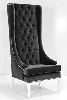 Lolita Wing Chair in Charcoal Velvet