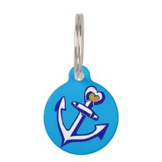Nautical Blue Heart Anchor Custom Round Pet Tag; Abigail Davidson Art; All tags are ready to customize on the back with your pet's name and your phone number!