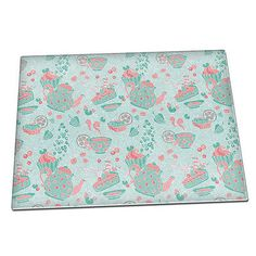 Blue & pink tea time cupcake #pattern #glass chopping #board 168,  View more on the LINK: http://www.zeppy.io/product/gb/2/222227610083/