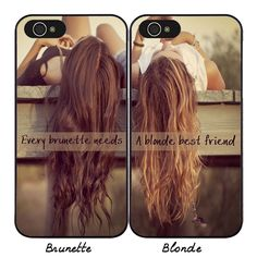 BFF Best Friends Hard Phone Case for iPhone Brunette Blonde Girls Cover