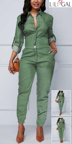 Hot Sale & Roll Tab Sleeve Turndown Collar Elastic Hem Jumpsuit Plus Size plus size pant suits Dressy Outfits, Chic Outfits, Fall Outfits, Fashion Outfits, Womens Fashion, Love Fashion, Fashion Trends, Green Dress Outfit, Salopette Jeans