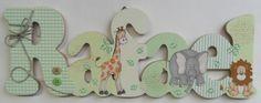 Nome decorado em MDF e Scrap personalizado para decoração de quarto, porta maternidade, chá de bebê, festas... <br>Tema e cores a sua escolha <br> <br>Demais nomes consulte R$