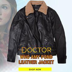 Amy Pond Doctor Who Karen Gillan Black Jacket Doctor Who Shop, Doctor Who Amy Pond, Karen Gillan, Dark Brown Color, Casual Wear, Black Leather, Ootd, Leather Jacket, Lifestyle